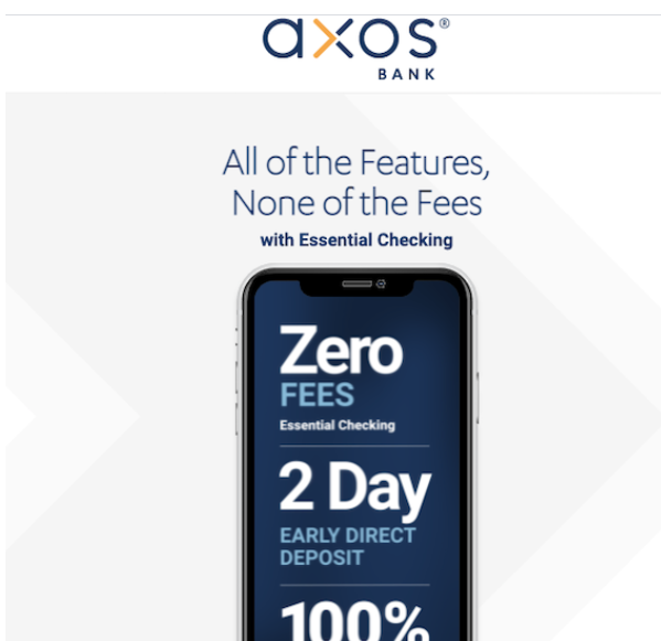 Axos Bank is an online full-service bank with no maintenance fees